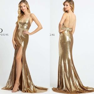 Mac Duggal Gold Sequin Spaghetti Strap Gown